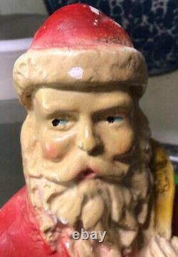 Antique Christmas 13 Santa Claus Plaster Chalkware Statue Figure 1920s blue eye