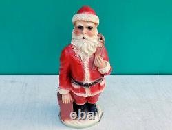 Antique Christmas 13 Santa Claus Plaster Chalkware Statue Figure c1920s