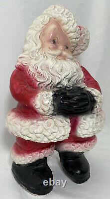 Antique Christmas 14H Santa Claus Plaster Chalkware Statue Bank Figure Mexico