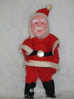 Antique Christmas Felt Composition Santa Claus Hand Painted Cotton Beard T19