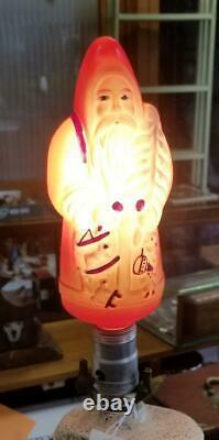 Antique Christmas Santa Claus Figure Edison Light Bulb Japan Tested Works & Box