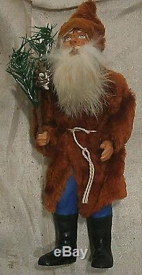 Antique Copper Velvet JACKET GERMAN SANTA CLAUS christmas figure belsnickle
