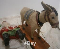 Antique GERMAN SANTA CLAUS Riding Nodding Donkey christmas figure belsnickle 20s