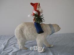 Antique German Riding Santa Claus On A Polar Bear With Glass Eyes 1900/1940