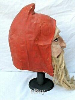 Antique German Santa Claus Figure Papier Mache Mask Early Great & Rare