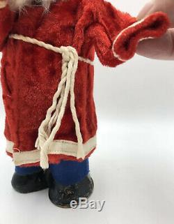 Antique German Santa Claus Mechanical with Key Figure Paper Mache Rabbit Fur Beard