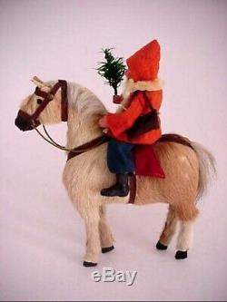 Antique German Santa Claus Riding Fur Covered Horse