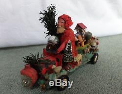 Antique German Santa Claus with truck 1900