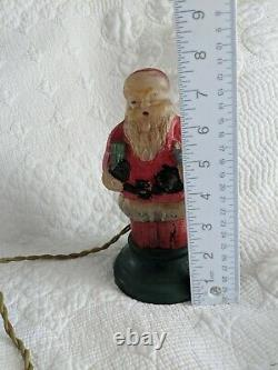 Antique Glass Santa Claus Christmas Lamp