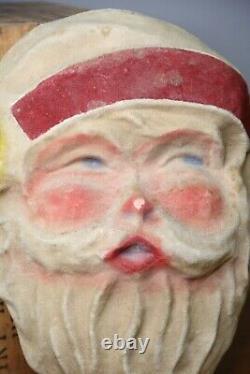 Antique Paper Mache Santa Claus Face vintage Christmas hat beard store display