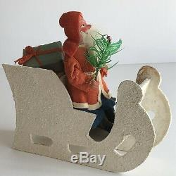 Antique Putz Santa Claus With Christmas Tree In Mica Covered Sleigh Vintage