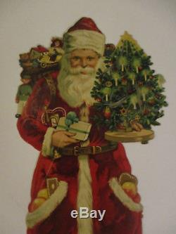 Antique SANTA CLAUS Victorian Christmas Die-Cut embossed paper Tree Toys ca. 13