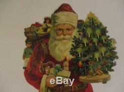 Antique SANTA CLAUS Victorian Christmas Die-Cut embossed paper Tree Toys ca. 13