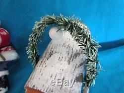 Antique Santa Claus/Candy container -wooden sled /Germany -goose feather brunch
