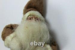 Antique Santa Claus Figure Clay Face Rabbit Fur Beard German