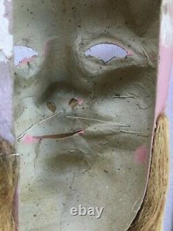 Antique Santa Claus Figure Papier Mache Mask Creepy Father Christmas C. 1900