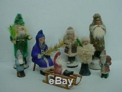 Antique Seated Cobalt Blue Belsnickle Santa Claus on Stool