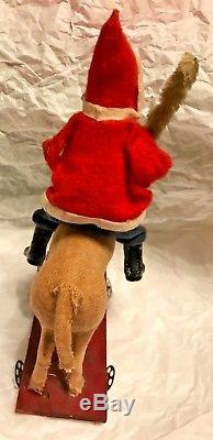 Antique VTG Santa Claus Riding Cloth Covered Dog Pull Toy Christmas Decoration