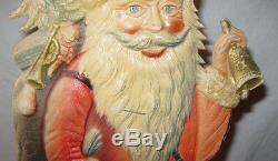 Antique Victorian 15 Santa Claus Cardboard Cut Out Germany Christmas Bell Bag