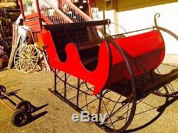 Antique Wooden Life Size Christmas Santa Claus sleigh