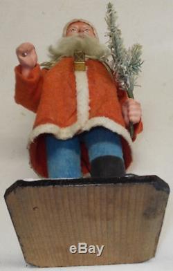 Antique red FELT JACKET GERMAN SANTA CLAUS w. ELECTRIC LANTERN works 11