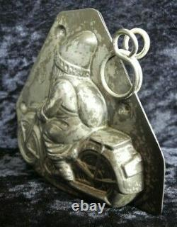 Antique vintage old metal iron chocolate mold figure Santa Claus on motorcycle