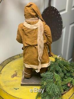 Arnett Primitive Santa Claus with Red Stocking & Bells