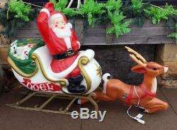 Blow Mold Santa Claus in NOEL Sleigh with 1 Reindeer Christmas Yard Decoration
