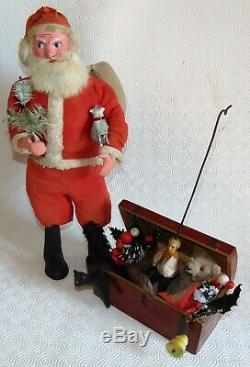 C1900 German store display LG 17 papier mache Santa Claus glass eye& toys trunk