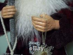 Christmas 4ft. Merriment Santa Clause Resin Figure Handcrafted High Qlty Velvet