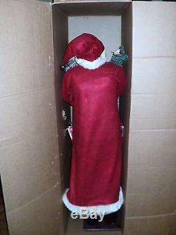 Christmas 5ft Lifesize Santa Claus Fabric w Tree NWOT