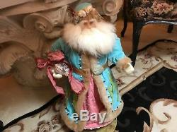 Christmas Coastal Santa Claus 25 Turquoise with Coral and Seashells Excellent