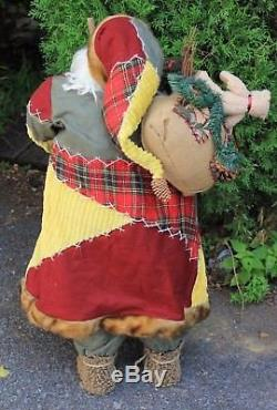 Christmas Large Colorful Santa Claus Holding Toy Sack Gift Bag 36 Tall