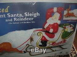 Christmas Lighted Santa Claus Sleigh Reindeer Deer Blow Mold Figure Yard Set 72