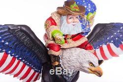 Christmas Santa Claus figurine Russian Ded Moroz handmade carved wood Eagle 12