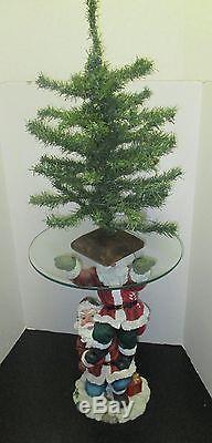 Collectable 2 Santa Claus Christmas Statue Holding a Clear Glass Table Top
