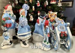 Danbury Mint Carolina Tar Heels Figures Santa Mrs Claus Kids Snowman Sleigh EUC