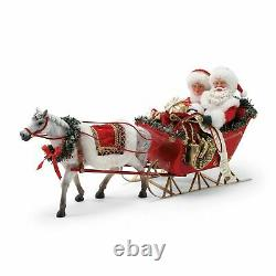 Dept 56 ONE HORSE OPEN SLEIGH Santa & Mrs Claus Possible Dreams Christmas Figure