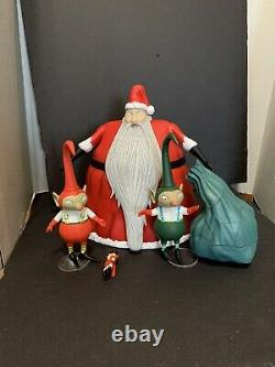 Diamond Select Nightmare Before Christmas Santa Claus And Elves 3 Lot Figures