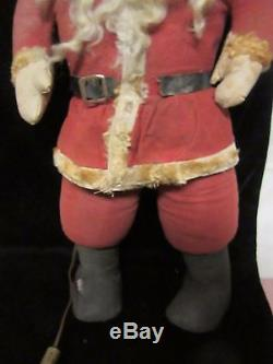 Early 20th Century Large Stuffed Santa Claus with Red Light Bulb Eyes UNUSUAL