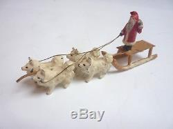 Exceptionally RARE Cold Painted GERMAN Georg Heyde SANTA CLAUS w SLED Husky DOGS