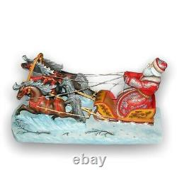 Exclusive Hand Carved Painted Wooden Santa Claus and Three Horses(Troika)