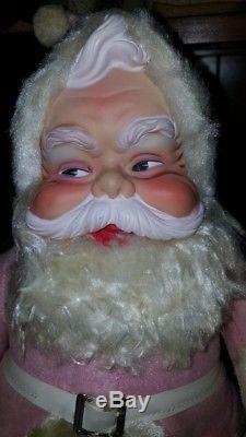 Extremely Rare Vintage RUSHTON Pink Santa Claus 50's The RUSHTON Co
