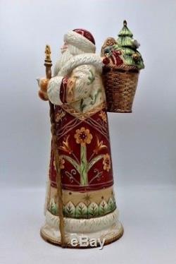 Fitz & Floyd Christmas Santa Claus Figure Hand Painted Porcelain Bianco 16