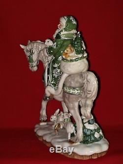 Fitz and Floyd WINTER GARDEN Santa Claus Horse Christmas Figurine Figure Statue