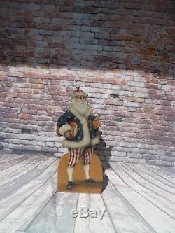 Folk Art Wood Craft Patriotic USA Santa Claus Standing Display Signed By Artist