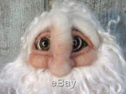 Frogges OOAK Artist Made WOOL Needle Felted Santa Claus Figure Doll 18