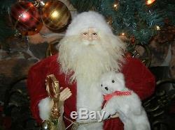 GIANT 36 INCH TALL SANTA CLAUS with STAFF / BELLS / BEAR CHRISTMAS PROP RARE