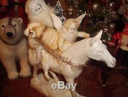 German Christmas SANTA CLAUS RIDING HORSE w TOYS & Dresden Wings Angel