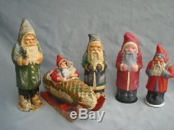 German Paper Mache Candy Container. 5 Santa Claus